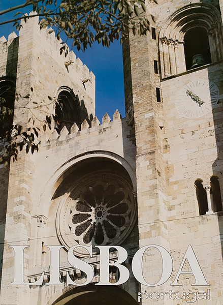 Original Portugal Travel Poster Lisboa Church Window Lisbon