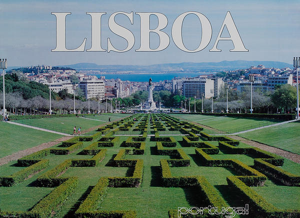 Original Portugal Travel Poster Lisboa Gardens Lisbon