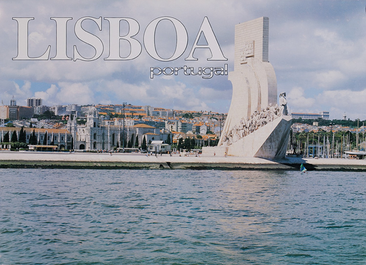 Lisboa Portugal Original Lisbon Travel Poster Harbor Statue
