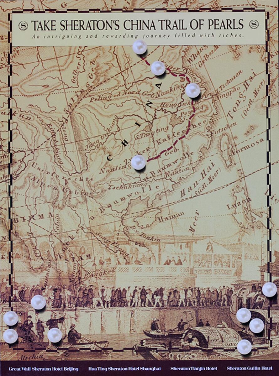 Take Sheraton's China Trail of Pearls Original Travel Poster