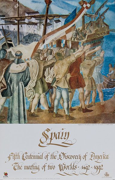 Spain Fifth Centenial Of the Discovery of America Original Tavel Poster