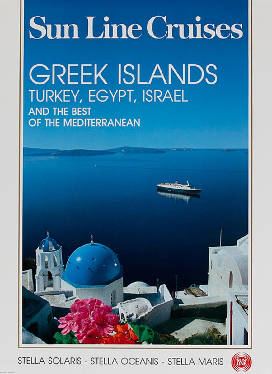 Sun Lines Cruises Greek Islands Turkey, Egypt, Israel Mediterranean Original Travel Poster