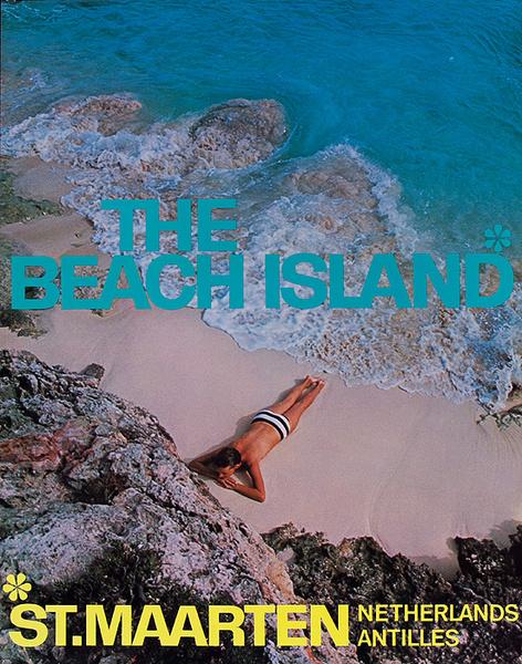 The Beach Island St. Maarten Netherlands Antilles Original Travel Poster