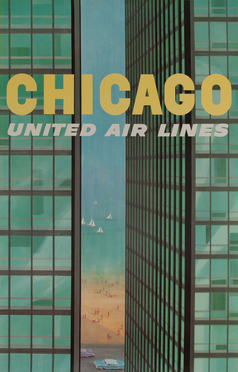 Chicago United Air Lines Mies Van Der Rohe Apartments Travel Poster