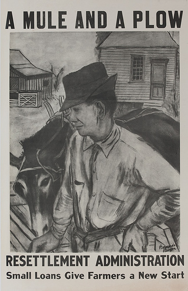A Mule and A Plow Resettlement Administration Small Loans Give Farmers a New Start Original American Depression era Political POster