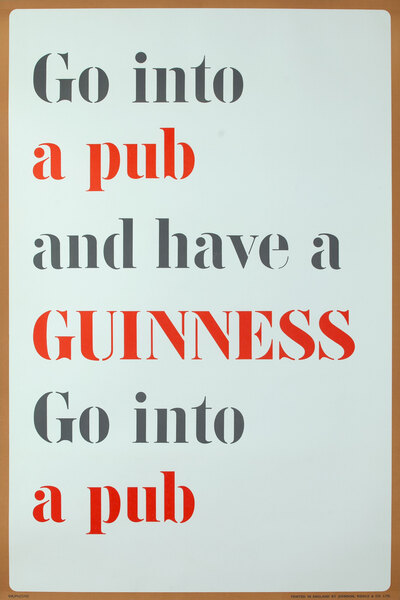 Go Into  A Pub and Have Guinness Original British Beer Poster