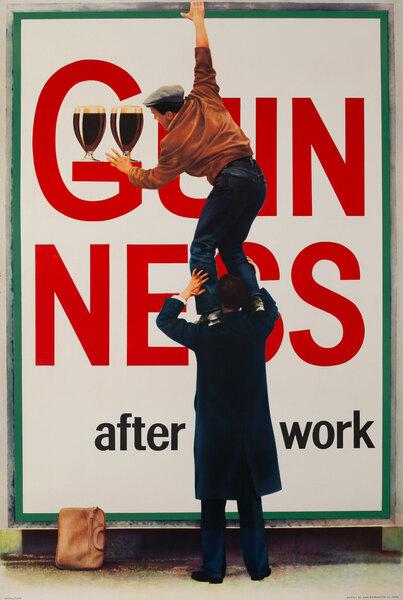 Guinness After Work Original British Beer Advertising Poster Stealing Beer