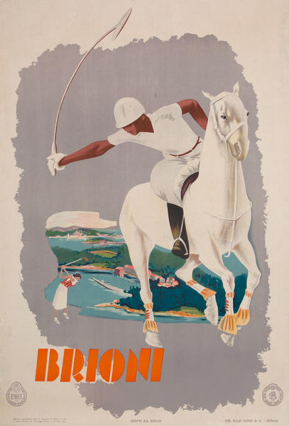 Brioni Italy Original ENIT Travel Poster Polo and Golf