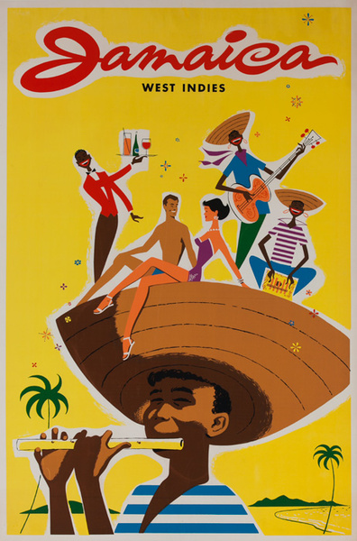Jamaica West Indies Tourists on Hat Original Travel Poster