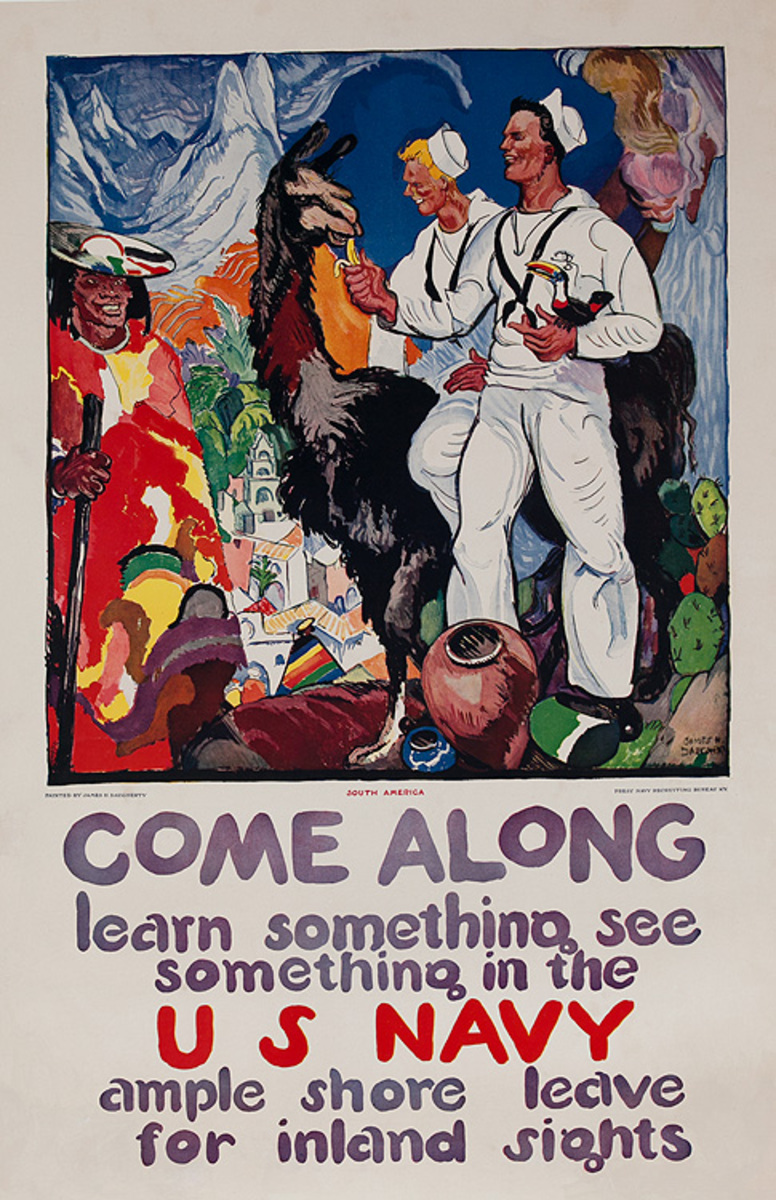 Come Along Learn Something See Something Original WWI US Navy Recruiting Poster