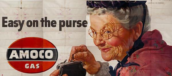 Easy on the Purse Original Amoco Gas Advertising Billboard