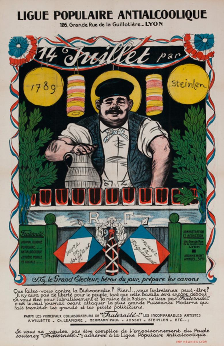Ligue PopulaireAntialcoolique, Lyon. Original French Temperance Poster