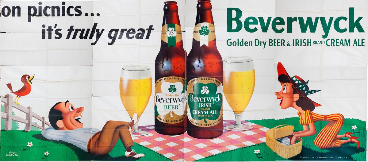 On Picnics.. it's truly great  Beverwyck Beer Original American Advertising Billboard