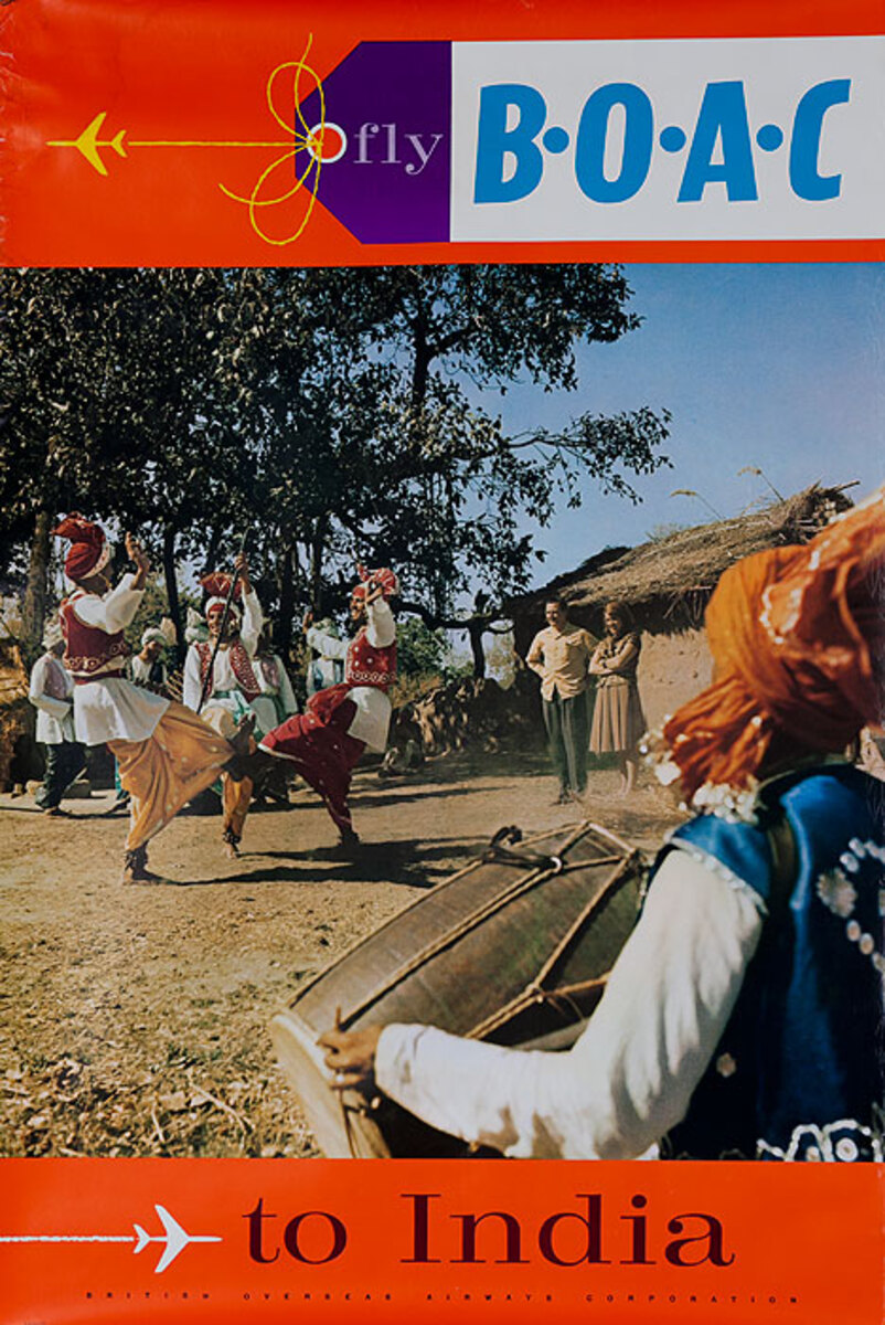 Fly BOAC to India Original Travel Poster dancers photo