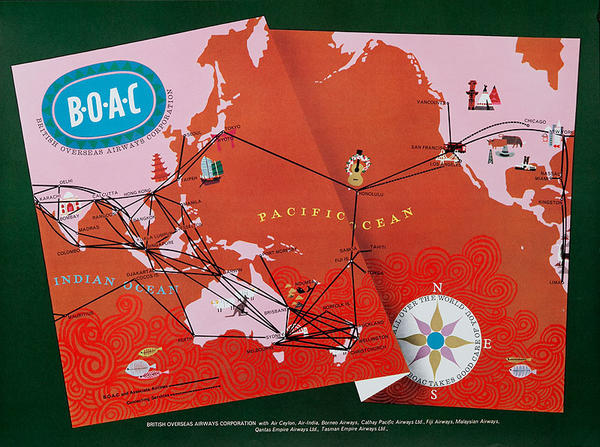 BOAC Original British Overseas Airways Corporation Travel Poster Map pink red