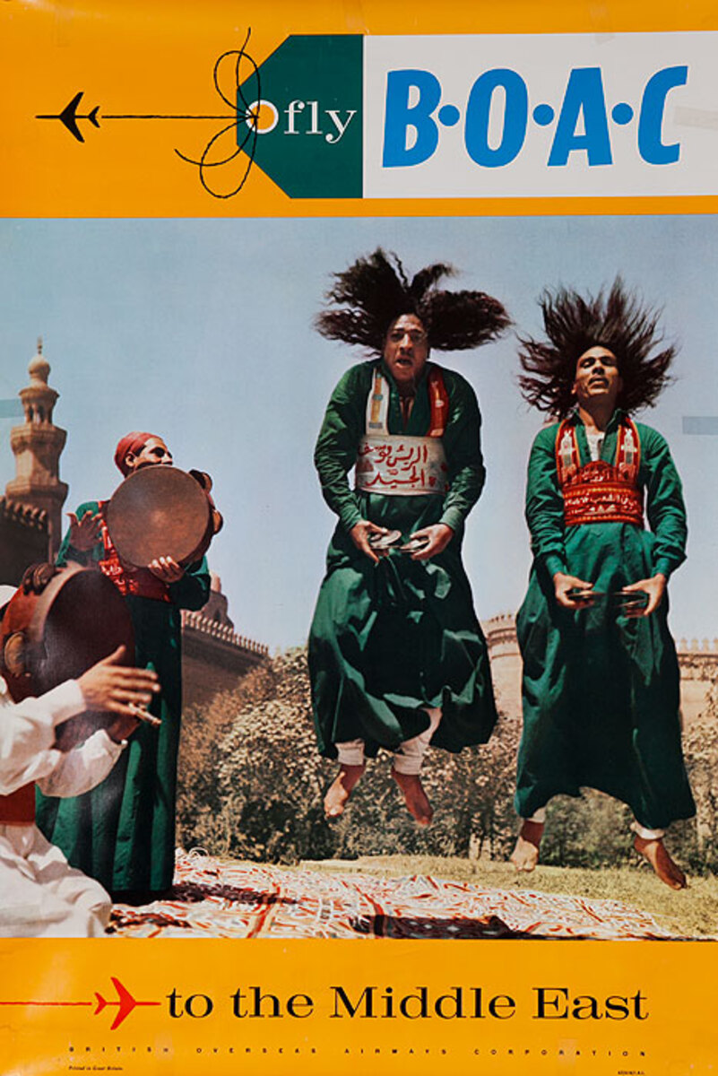 Fly BOAC to the Middle East Original Travel Poster dancer photo