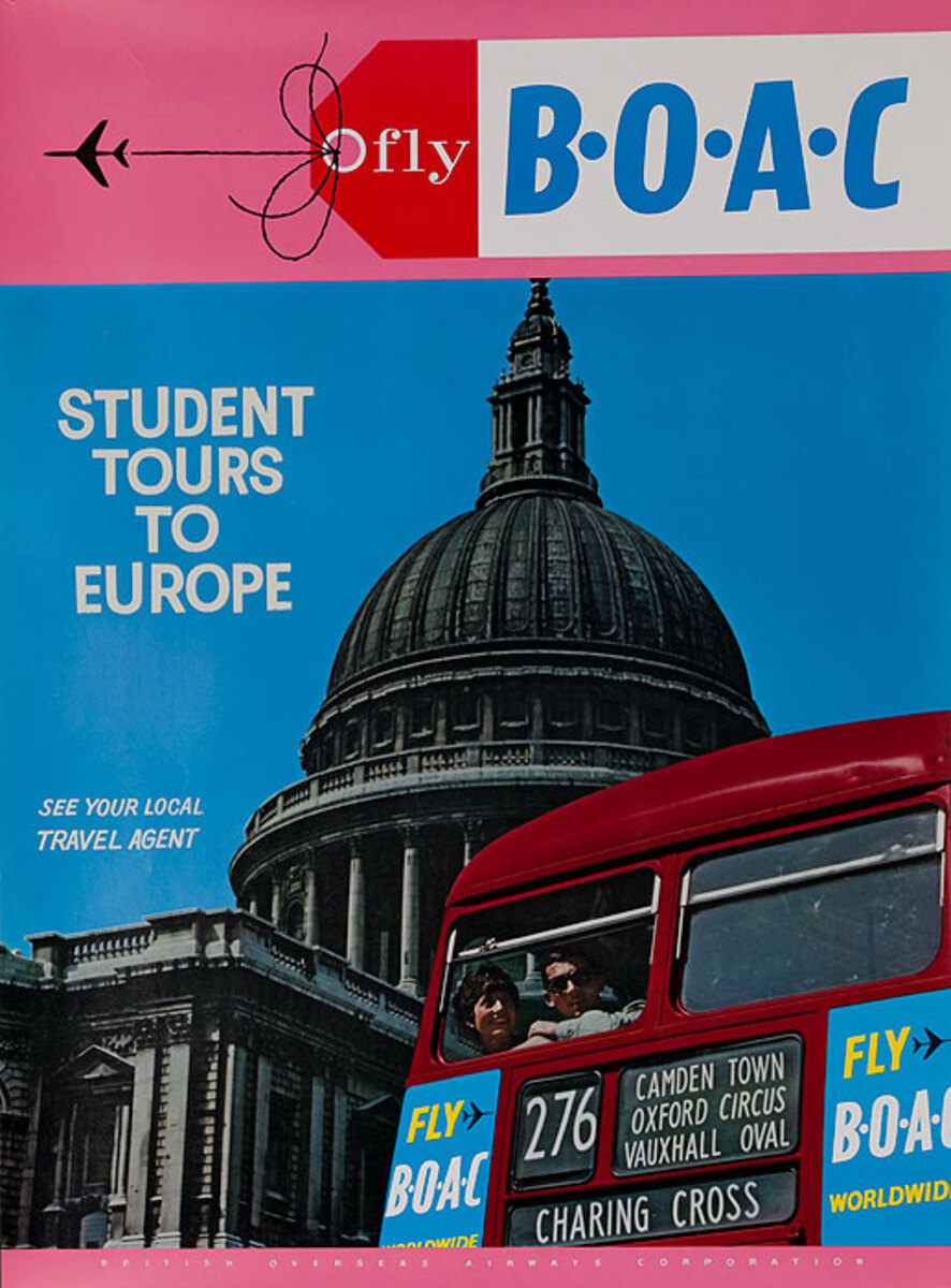 Fly BOAC Student Tours to Europe Original Travel Poster