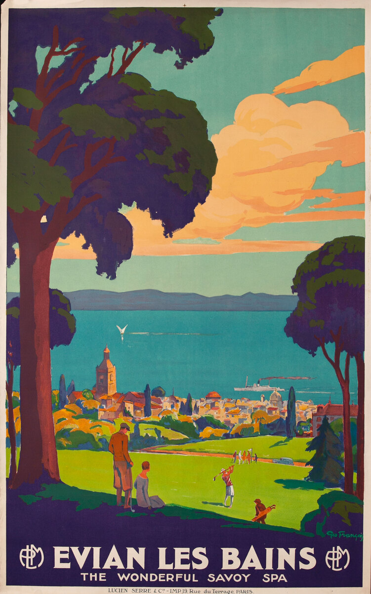 Evian Les Bains Original French Travel Poster Golf