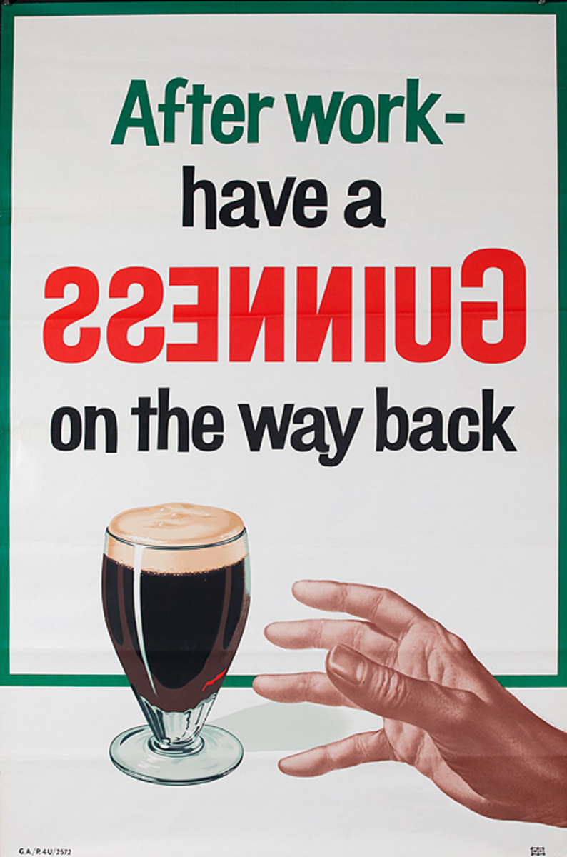 After Work, Have a Guinness on the Way Back  Original British Beer Advertising Poster