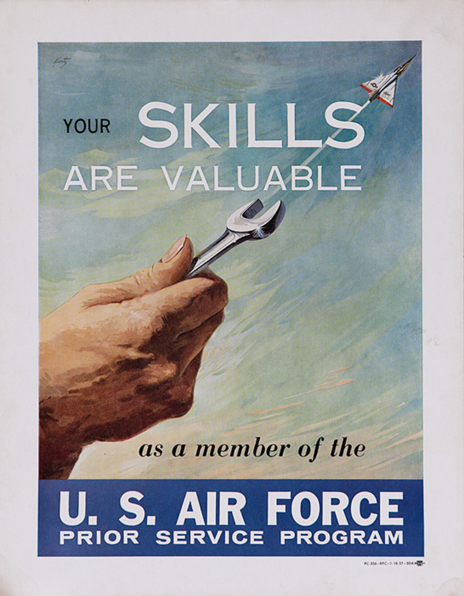Your Skills Are Valuable Original Korean War Era US Air Force Recruiting Poster