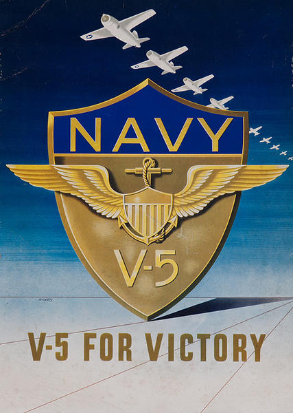NAVY V-5 For Victory Original American Recruiting Poster
