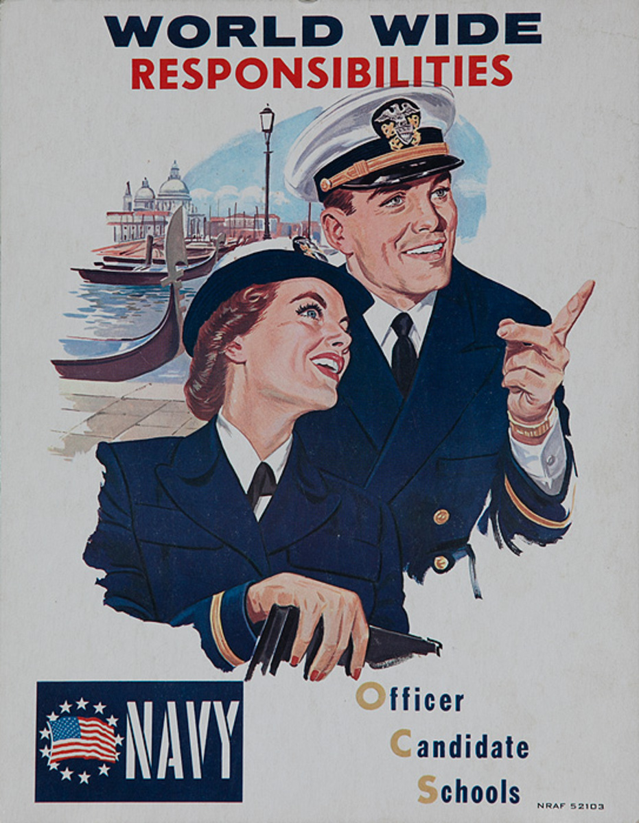 NAVY World Wide Responsibility Officer Candidate Schools Origiinal American Recruiting Poster