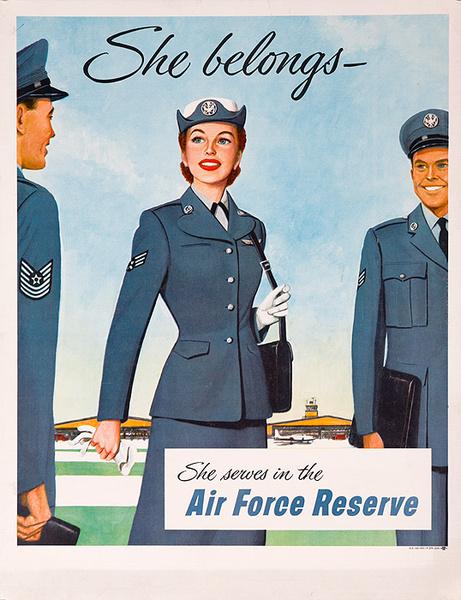 She Belongs She Serves in the Air Force Reserve Original Korean War Era Recruiting Poster