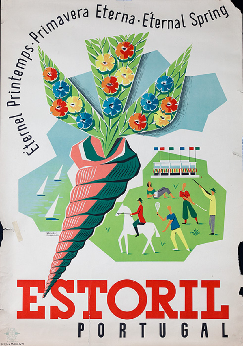 Estoril Portugal Original Travel Poster Eternal Spring
