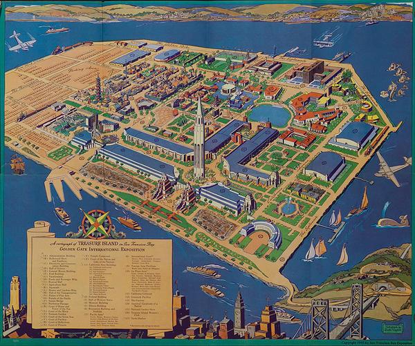 Golden Gate Exposition Original Treasure Island Map Poster