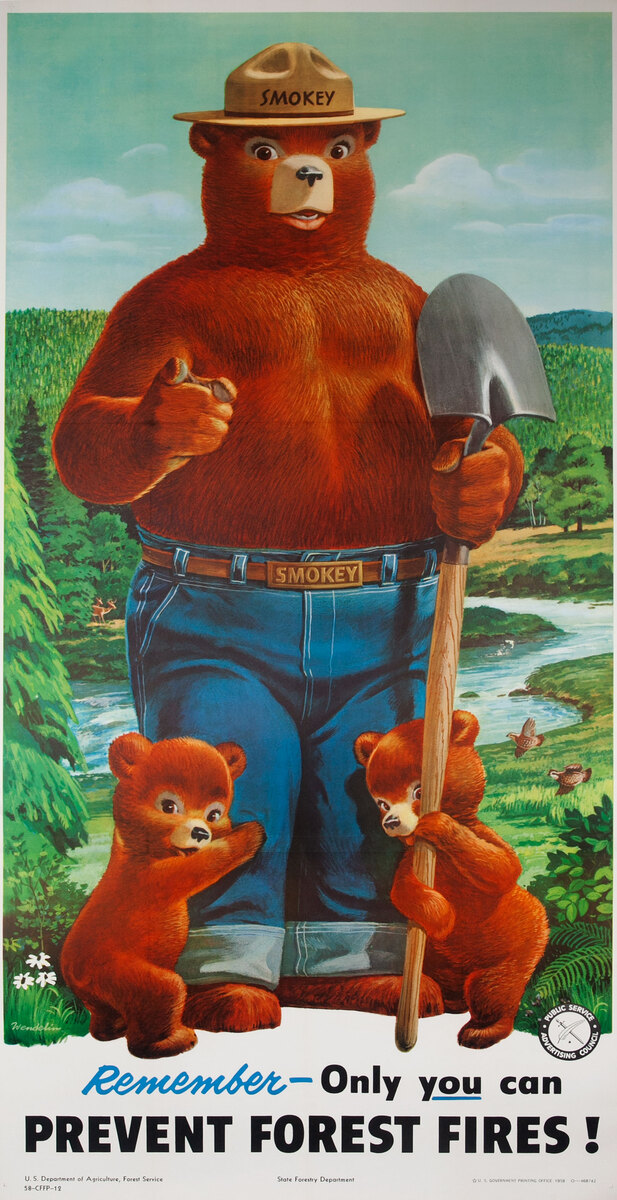 Remember Only You can Prevent Forest Fires Original Smokey Bear 3 Sheet Poster