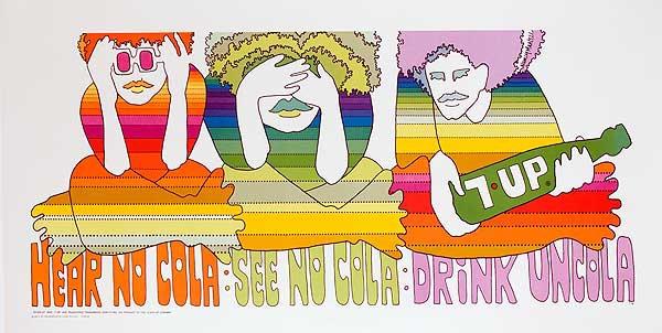 Original  7 Up Poster  Hear No Cola See No Cola, Drink Uncola
