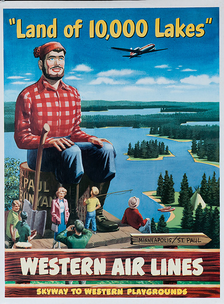 Western Air Lines Land Of a Thousand Lakes Original Travel Poster
