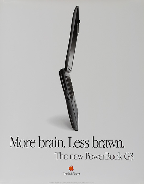 Apple More Brains Less Brawn Original American Laptop Computer Poster