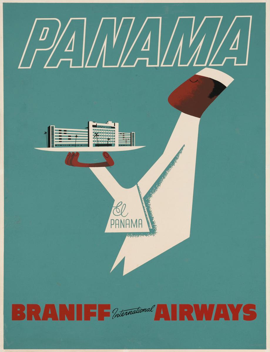 Braniff International Airways Original Travel Poster Panama Waiter
