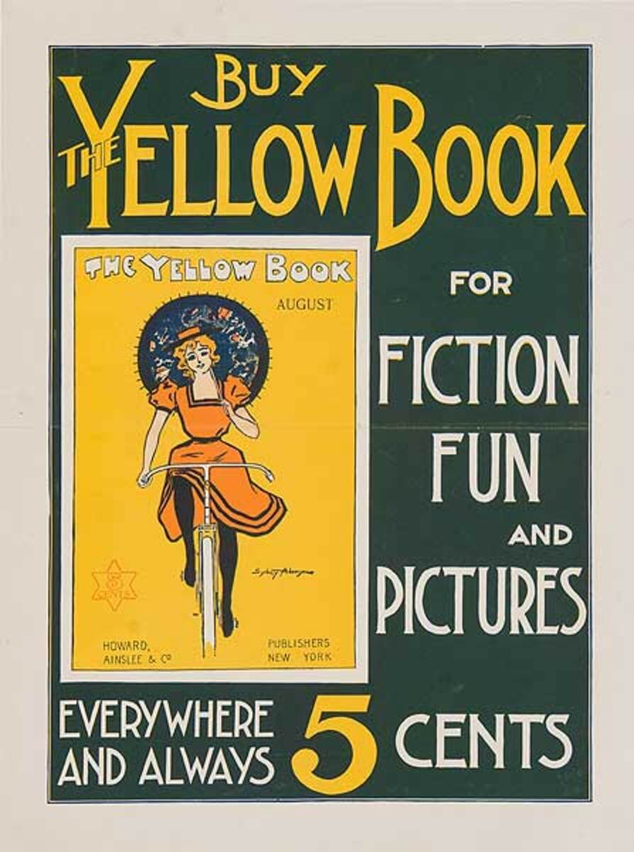 Buy The Yellow Book Bicycle Original American Literary Poster