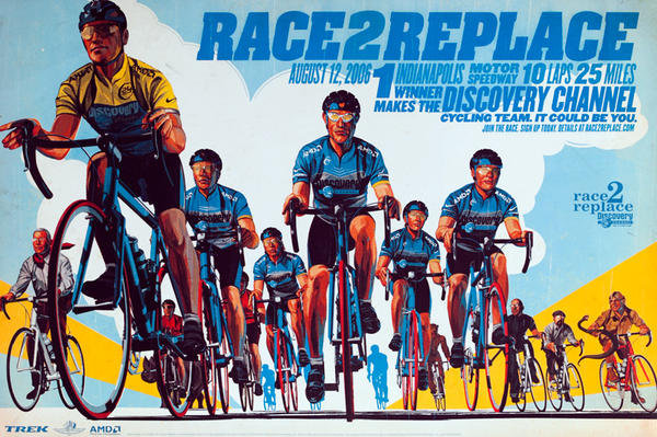 Race 2 Replace Original Team Discovery Bicycle Poster Team