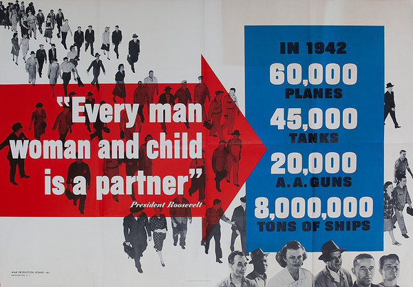 Original WWII Poster Rossevelt Quote Every Man Womand and Child is a Partner