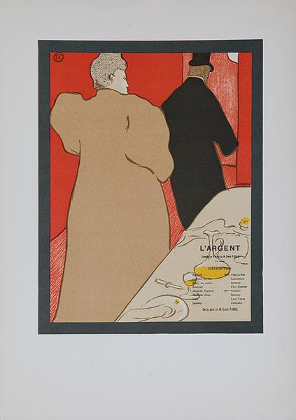 L'Argent, Toulouse-Lautrec Lithographic Plate