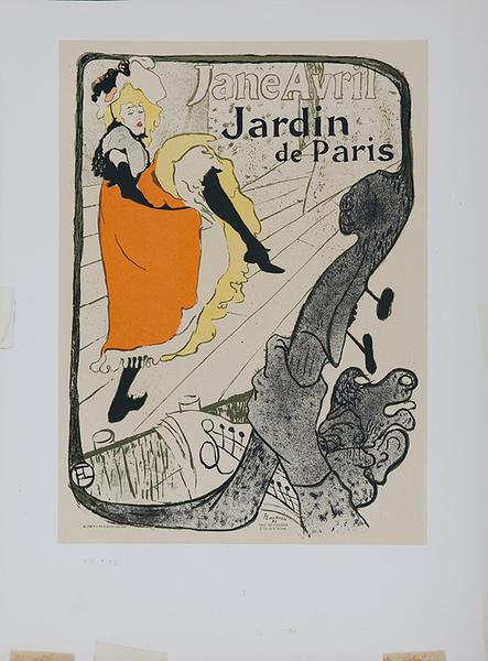 Jane Avril Jardin de Paris Lithographic Toulouse-Lautrec Plate