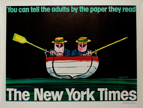 Original New York Times Advertising Poster You Can Tell Adults by The Paper They Read