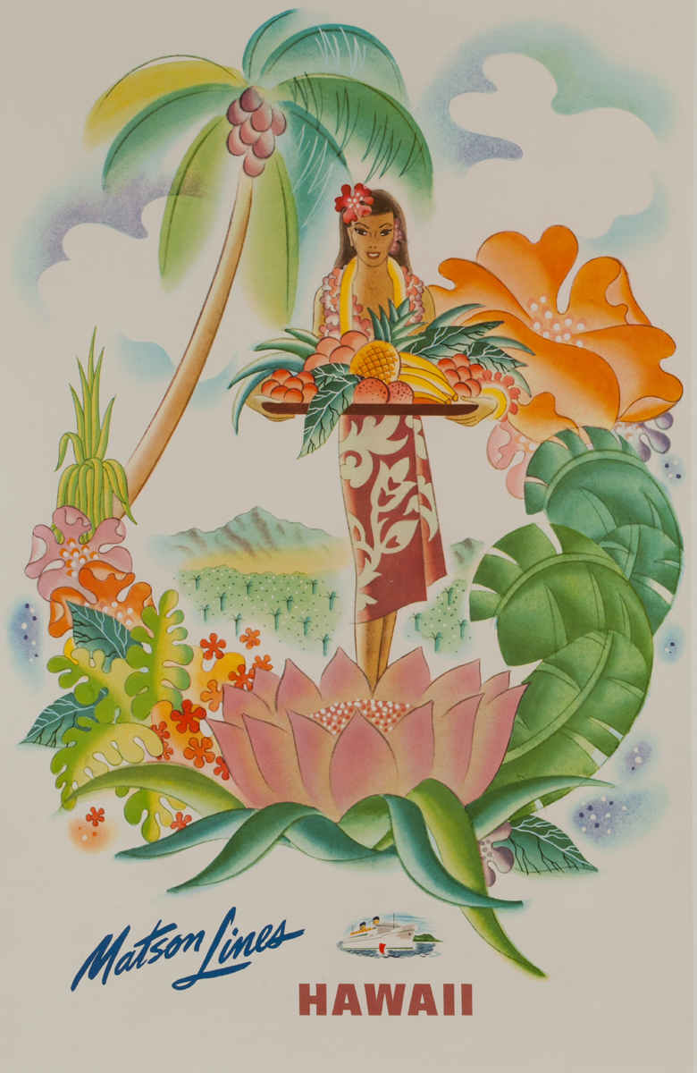 Matson Lines Hawaii Original Travel Poster Woman with Tropical Fruit