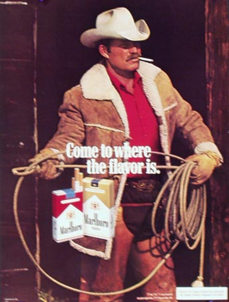 Marlboro Cigarette Cowboy Come to Where the Flavor Is. Original Vintage Advertising Poster