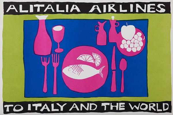Alitalia Airlines to Italy and the World Original Travel Poster