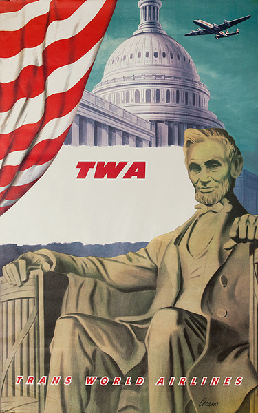 TWA Trans World Airlines Original Travel Poster Washington DC Capitol Lincoln Memorial