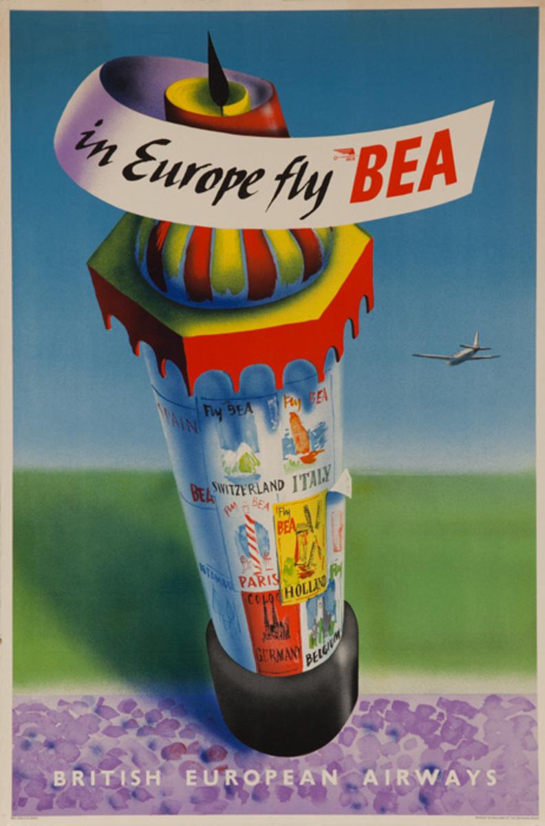 In Europe Fly BEA British European Airways Original Travel Poster Kiosk