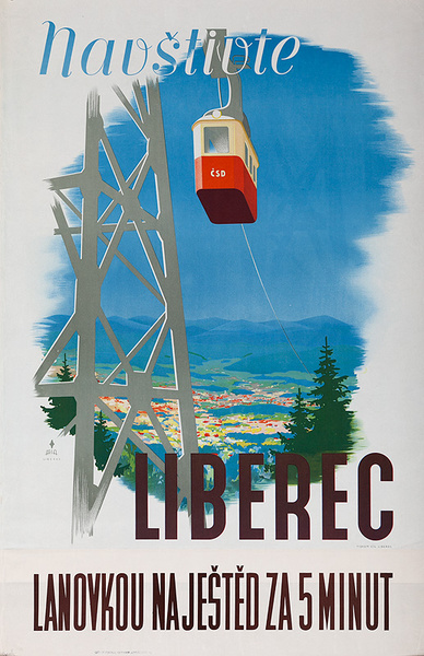 Visit Liberec by Cablecar in 5 Minutes Original Czech Travel Poster