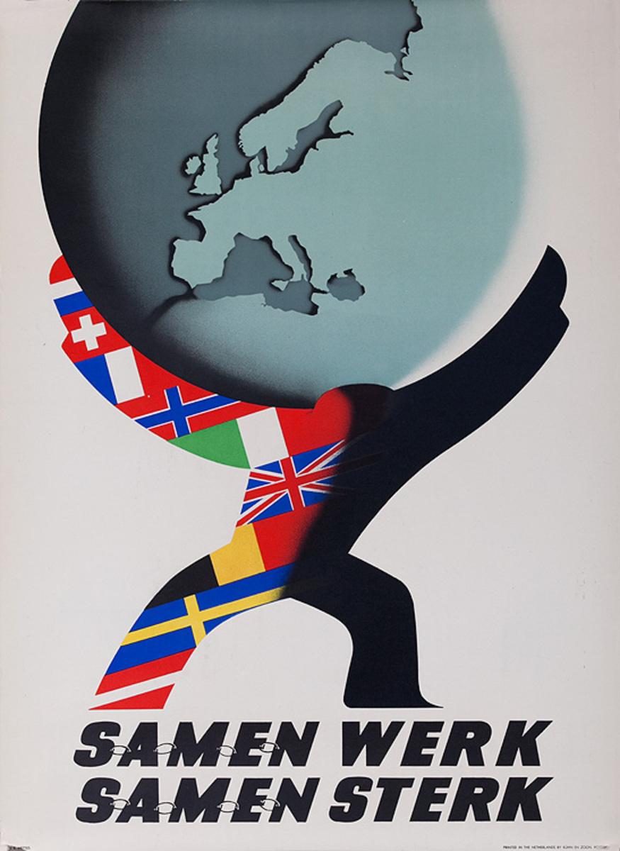 Samen Werk, Samen Sterk (Work Together, Strong Together), Original Marshall Plan Netherlands Poster