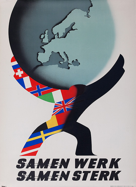Samen Werk, Samen Sterk (Work Together, Strong Together), Original Marshall Plan Netherlands Poster