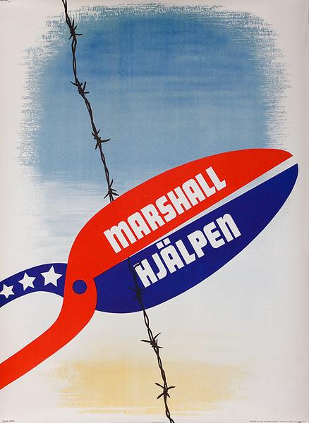 "Original ERP Marshall Plan Poster Sweden Marshall Aid. ""Marshall Hjalpen"""