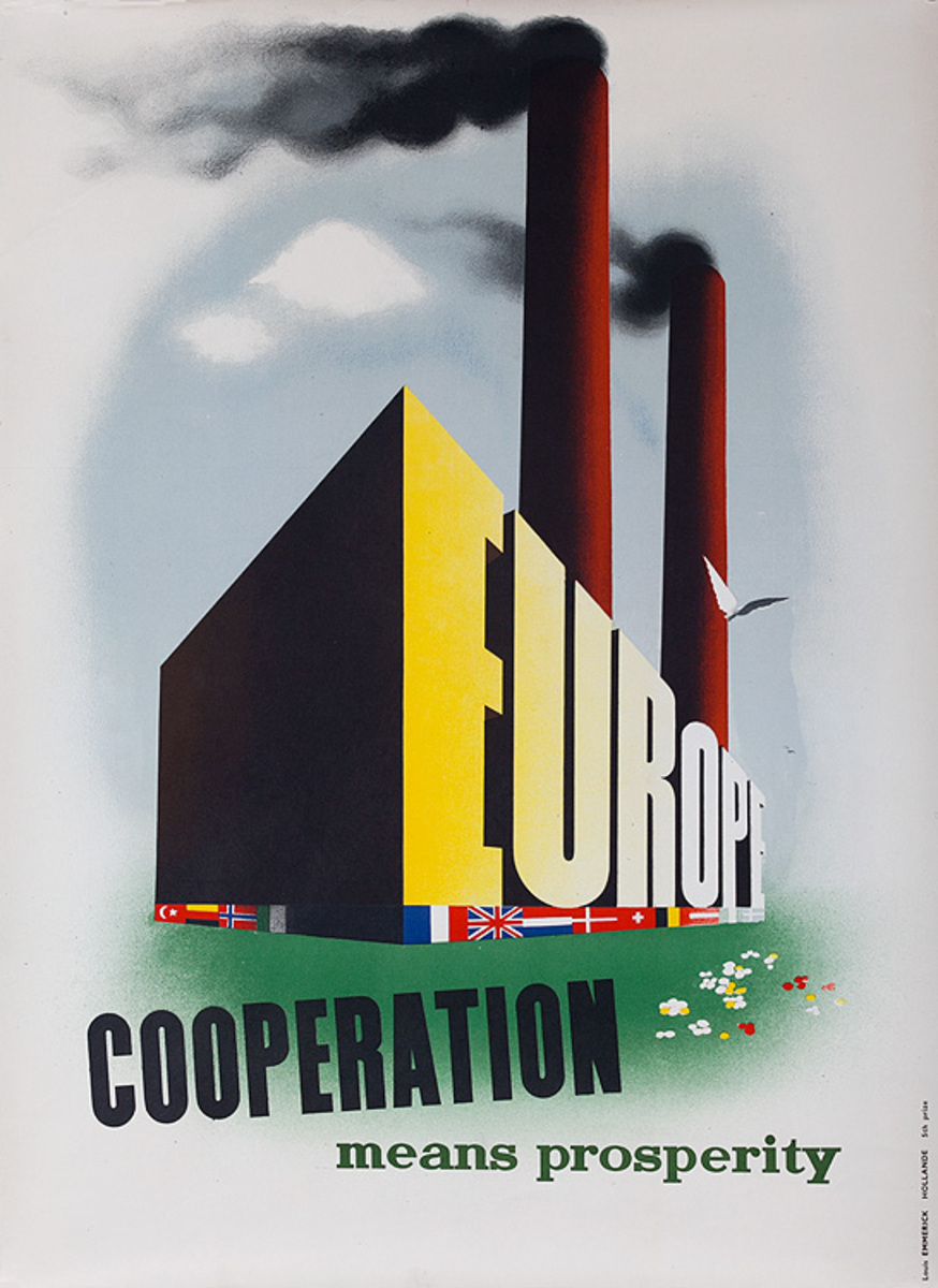 Original Marshall Plan Holland Poster Cooperation Means Prosperity